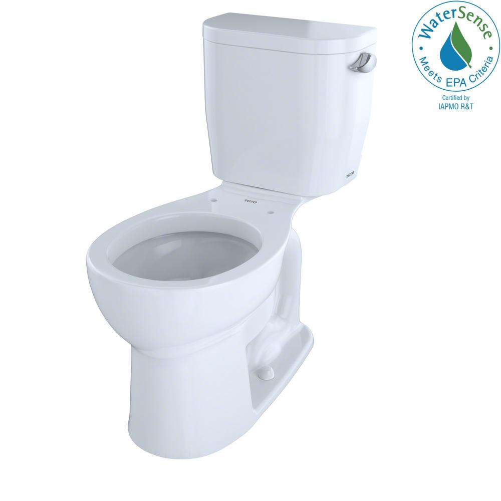 TOTO Entrada 2-Piece 1.28 GPF Single Flush Round Toilet with Right ...