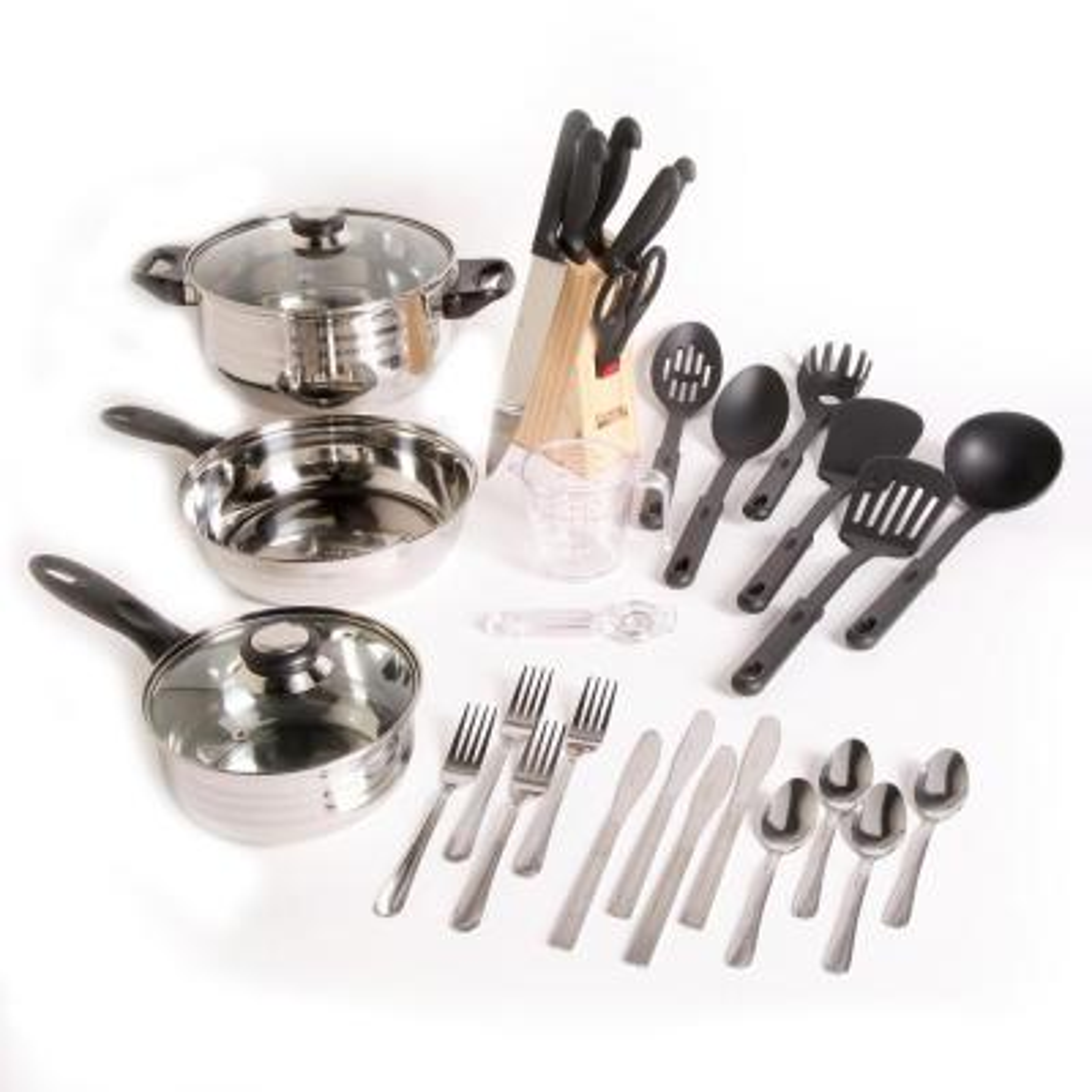 Total Kitchen Lybra 32-Piece Stainless Steel Cookware Set