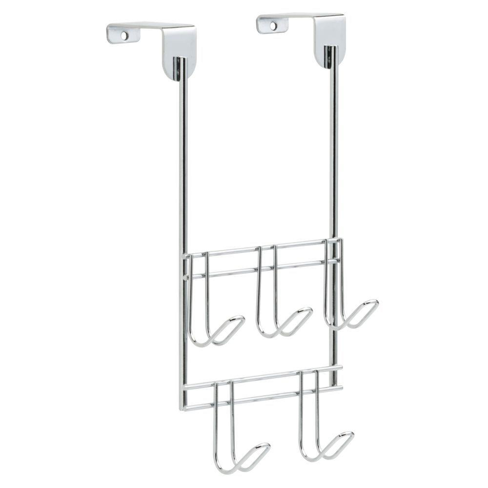 Liberty 10 in. Chrome Over-the-Door Hook Rack