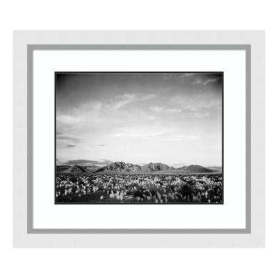 """""""Distant mountains: desert and shrubs in foreground near Death Valley, CA -"""" by Ansel Adams Framed Wall Art"""
