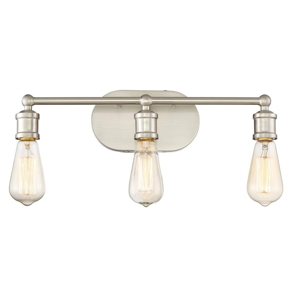 Filament design 3 light brushed nickel bath light cli for Brushed nickel 3 light bathroom fixture