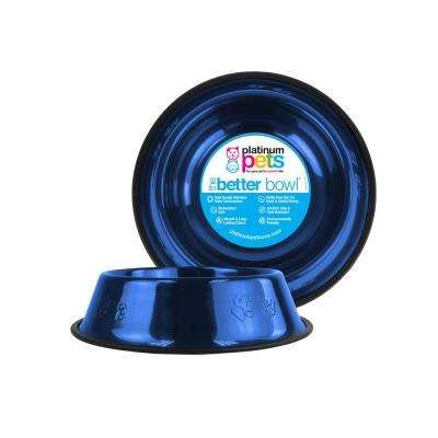 3.5 Cup Embossed Non-Tip Stainless Steel Dog Bowl, Sapphire Blue