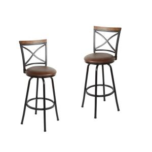 Frankie 36 in. Cognac Cushioned Adjustable Height Swivel Bar Stool (Set of 2)