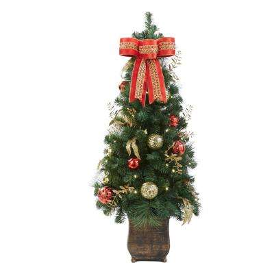 pre lit new plaza potted artificial christmas tree with 50 lights - Battery Powered Christmas Decorations
