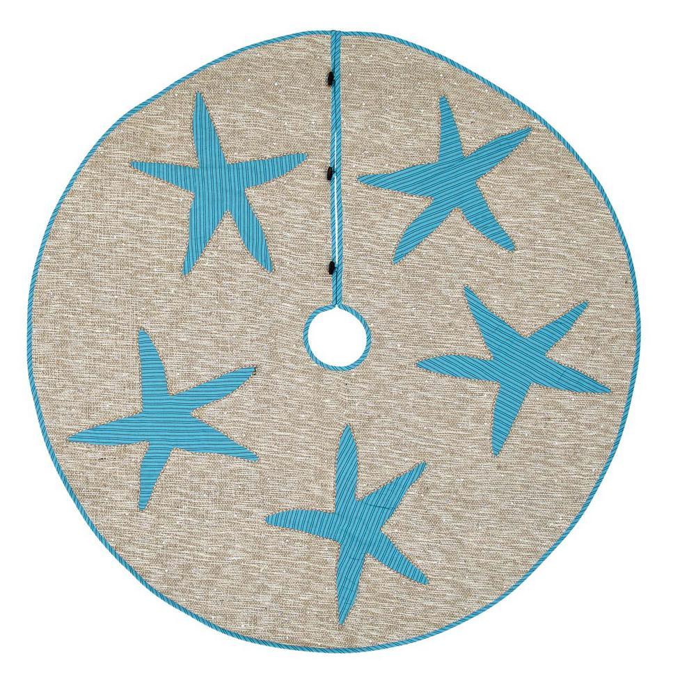 55 in. Nerine Robin Egg Blue Coastal Christmas Decor Tree Skirt