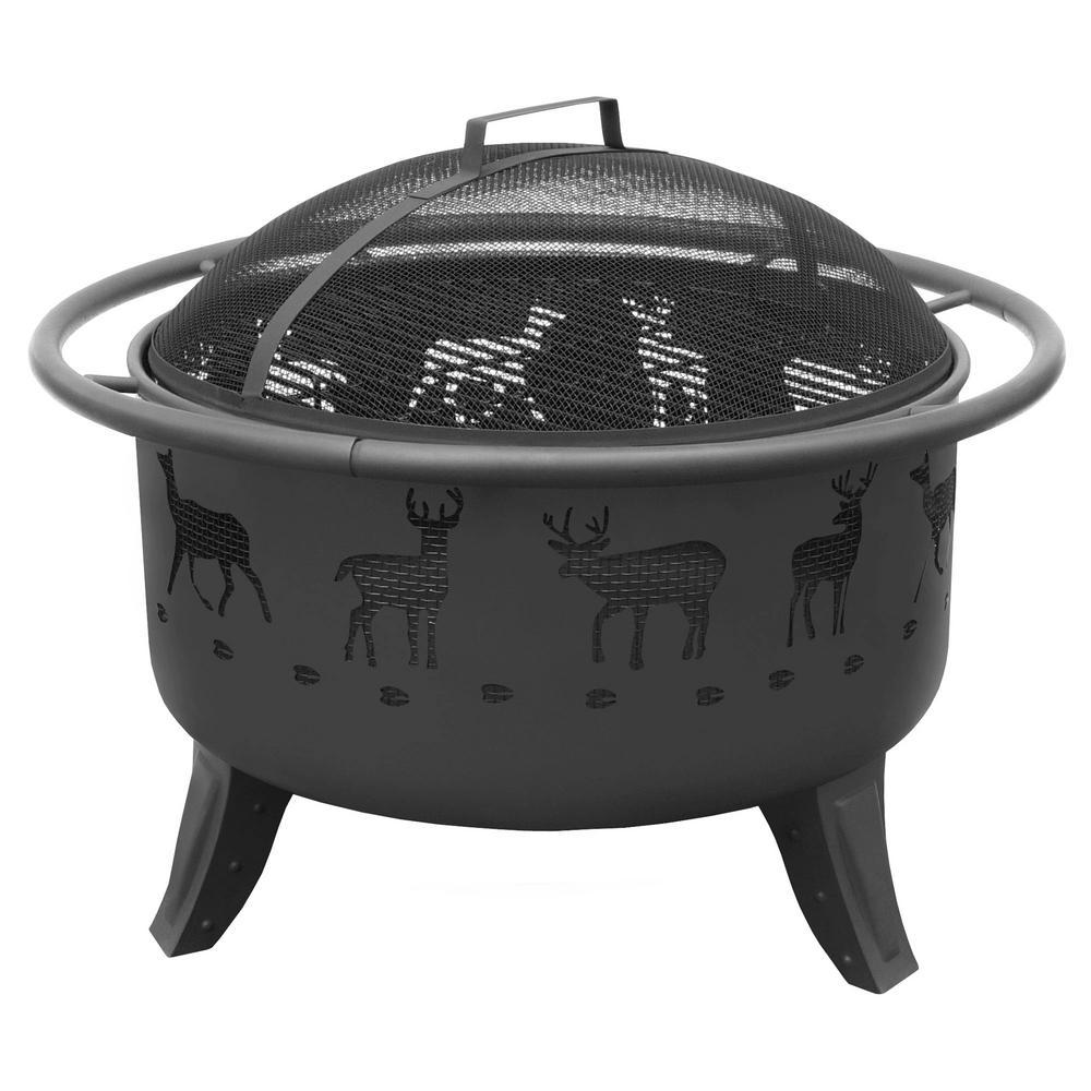 29.5 in. x 23 in. x 29.5 in. Round Steel Patio Lights Deer Tracks Wood Burning Fire Pit in Black