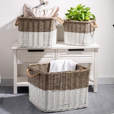 Natural/White Square Wicker Baskets (Set of 3)