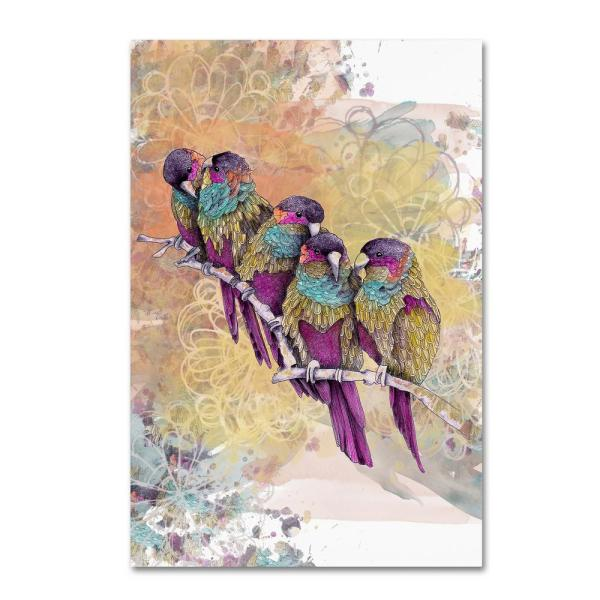 12 in. x 19 in. Purple Parrots by The Tangled Peacock Floater Frame Animal Wall Art