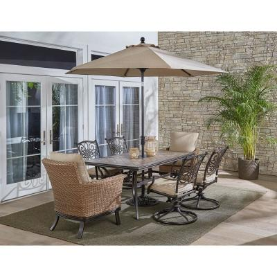Monaco 7-Piece Aluminum Outdoor Dining Set with Tan Cushions, 4 Swivel Rockers, 2 Woven Arm Chairs, Tile Table, Umbrella