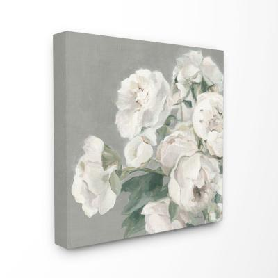 "30 in. x 30 in. ""Large Flowers Neutral Grey Painting"" by Marilyn Hageman Canvas Wall Art"