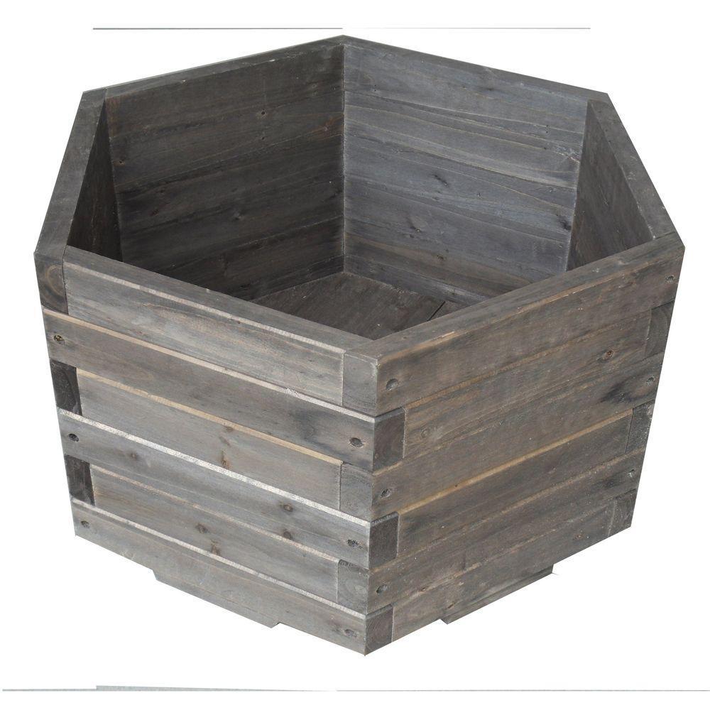 Elegant Home Fashions 30 gal. All Wood Hexagon Barrel Planter