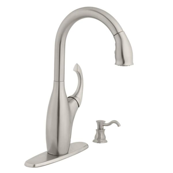 Contemporary Single-Handle Pull-Down Sprayer Kitchen Faucet with Soap Dispenser in Stainless Steel