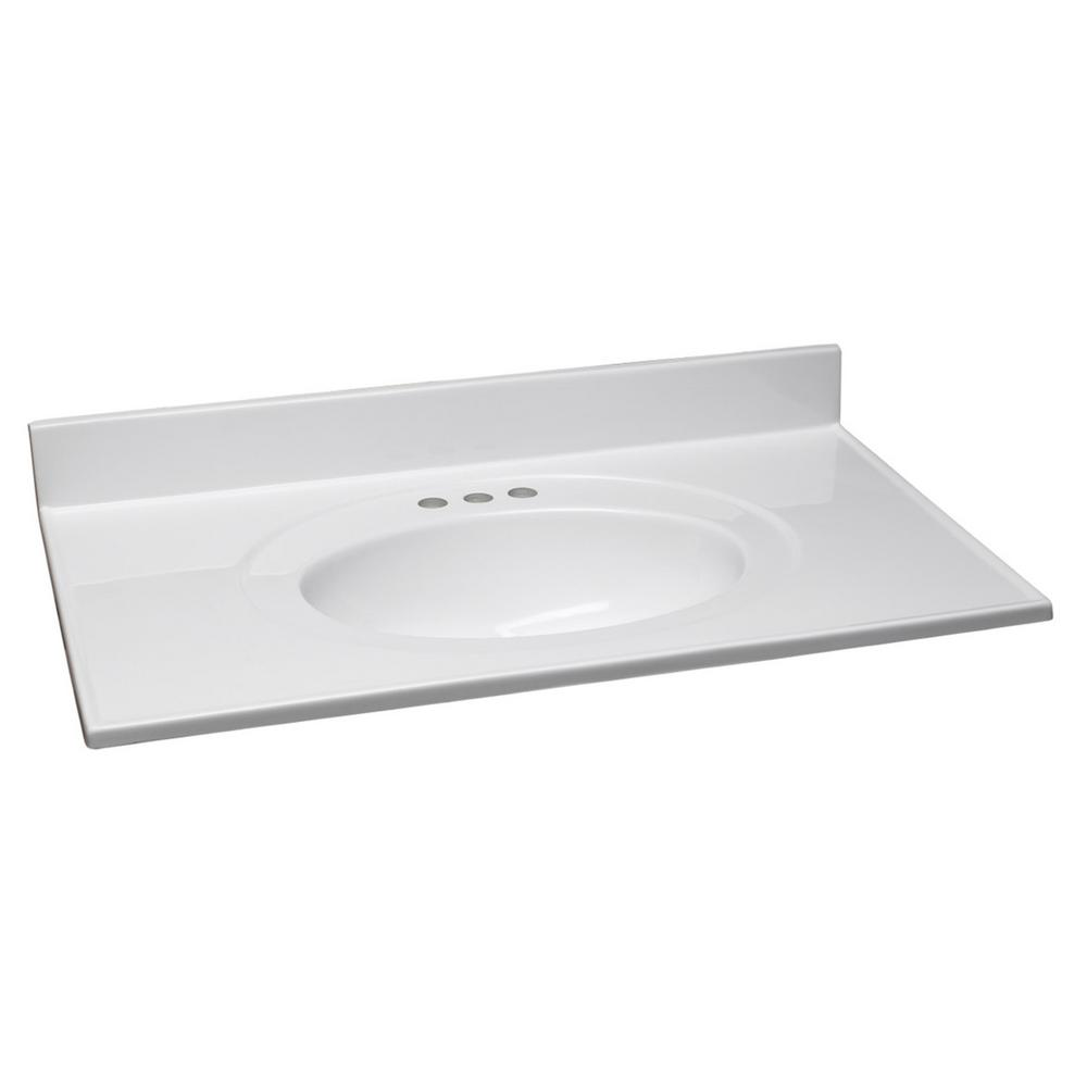 37 in. Cultured Marble Vanity Top in Solid White with Basin