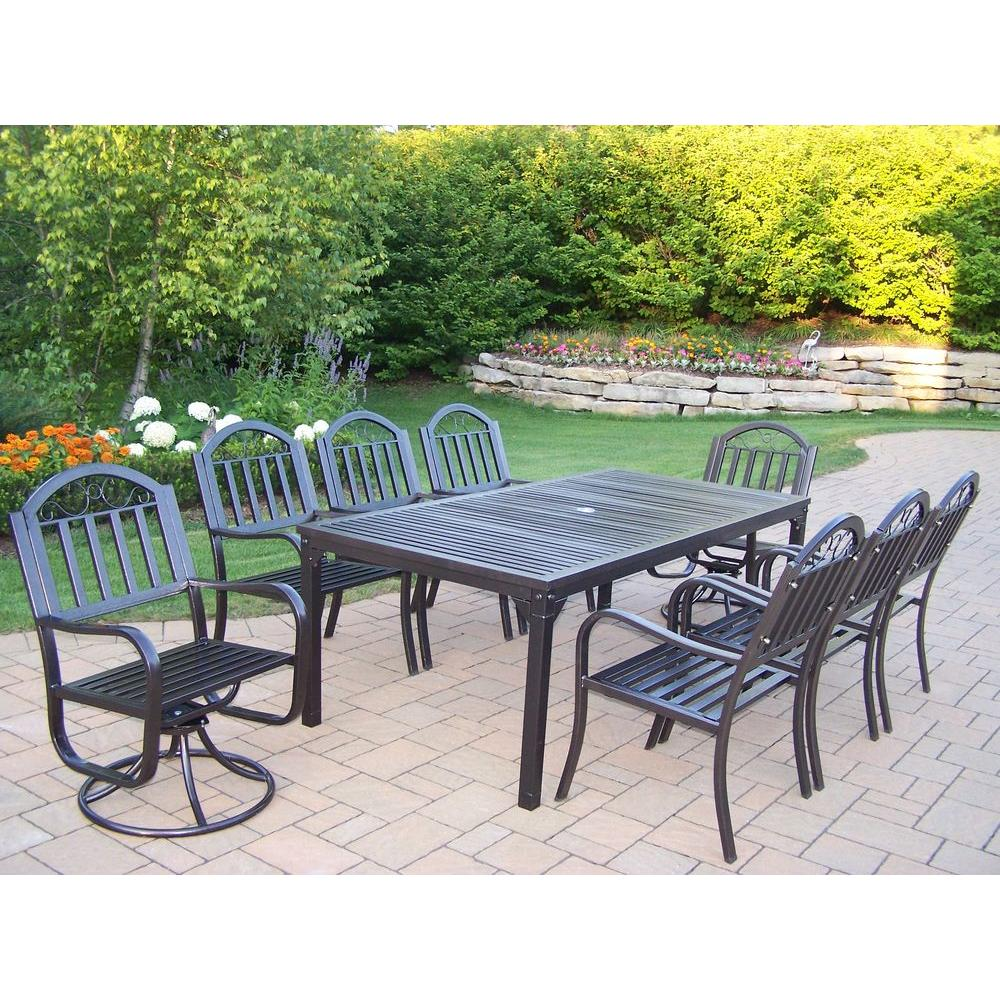 Oakland Living Rochester 9 Piece Patio Dining Set With 2 Swivel