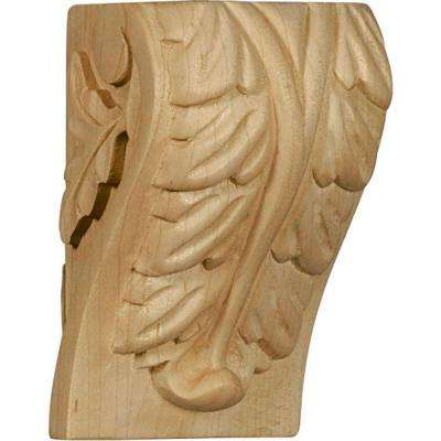 2-1/4 in. x 2-1/2 in. x 4 in. Unfinished Wood Red Oak Small Acanthus Leaf Block Corbel