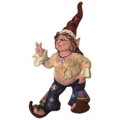 14 in. H 60's Janice Chick Flower Child Hippie Gnome Home and Garden Gnome Statue