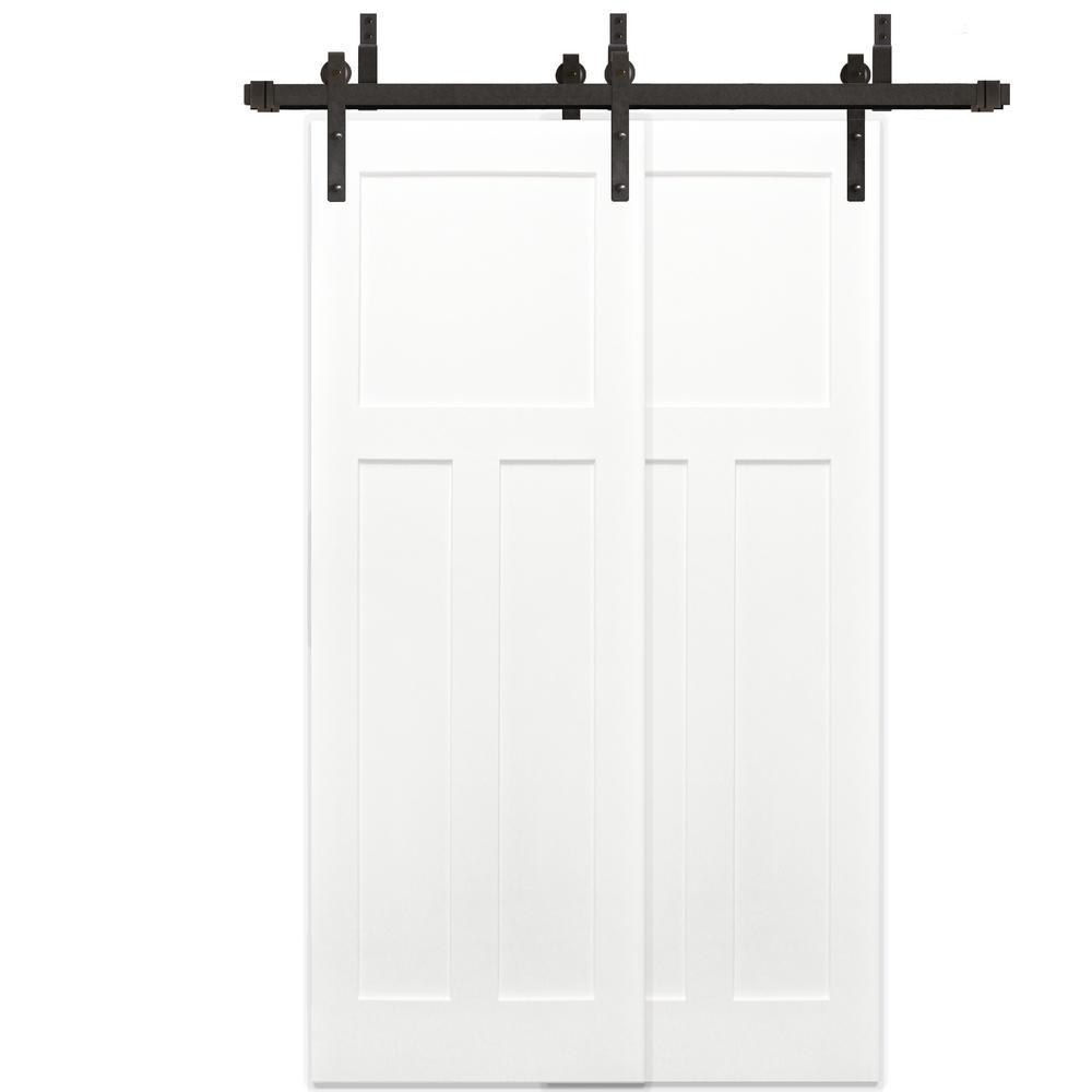 48 in. x 80 in. Bypass Unfinished 3-Panel Solid Core Primed Pine Wood barn Door with Bronze Sliding Door Hardware Kit