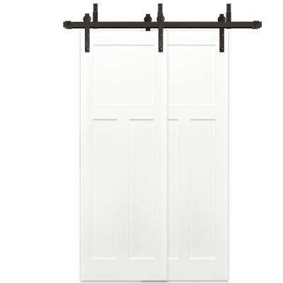 48 in. x 80 in. Bypass 3-Panel Solid Core Primed Pine Wood Barn Door with Bronze Sliding Door Hardware Kit, Soft Close
