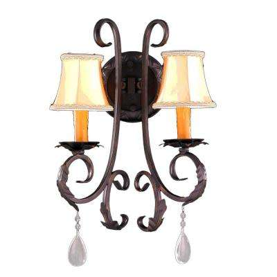 Abigail 2-Light Flemish Brass with Clear Crystal Sconce