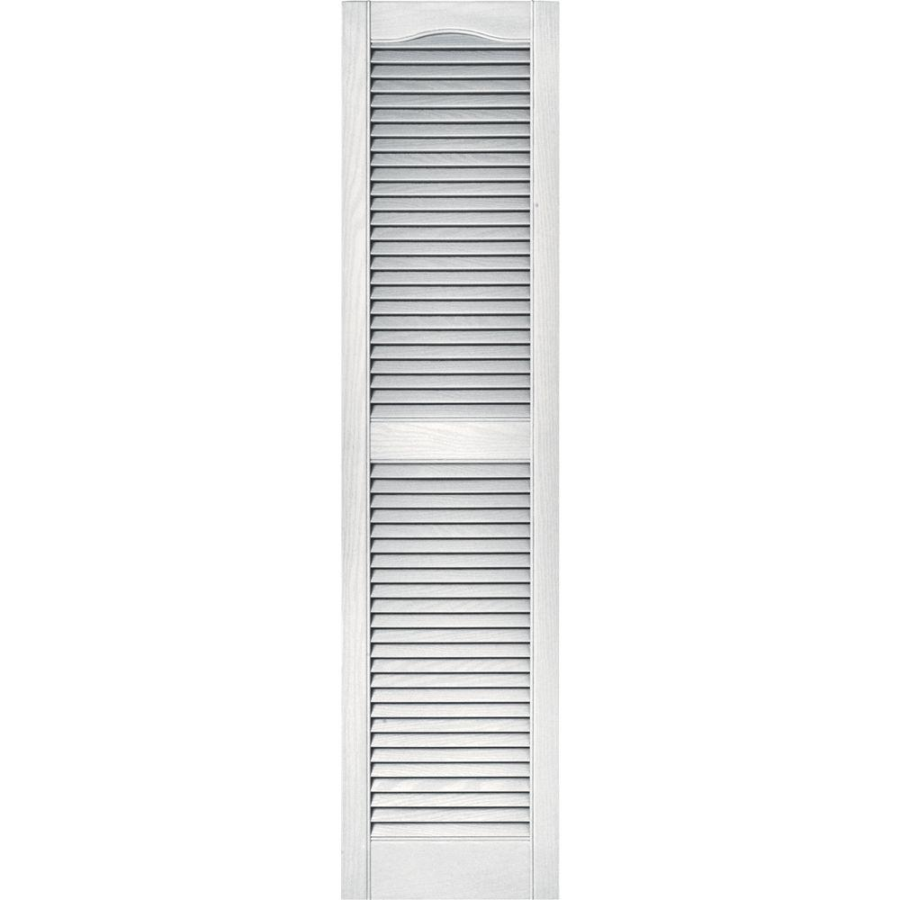 Builders edge 15 in x 60 in louvered vinyl exterior shutters pair in 117 bright white for Home depot exterior vinyl window shutters