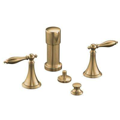 Finial Traditional 2-Handle Bidet Faucet in Vibrant Brushed Bronze