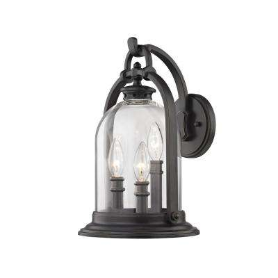 North Haven 3-Light English Bronze with Clear Glass Outdoor Wall Mount Sconce