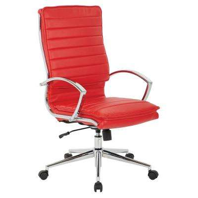 High Back Manager's Faux Leather Chair in Red with Chrome Base