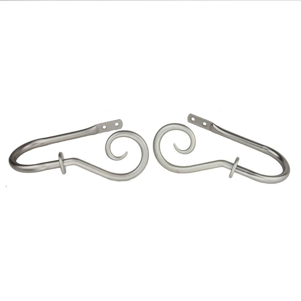 Curl Decorative Holdback Pair in Satin Nickel