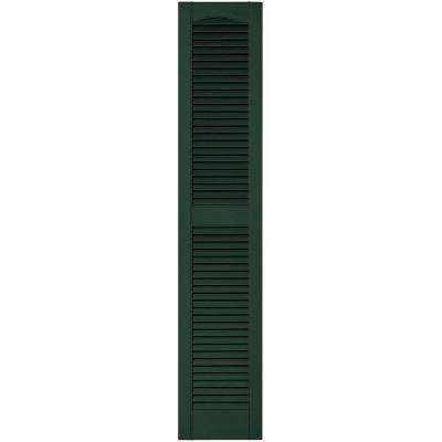 12 in. x 60 in. Louvered Vinyl Exterior Shutters Pair in #122 Midnight Green