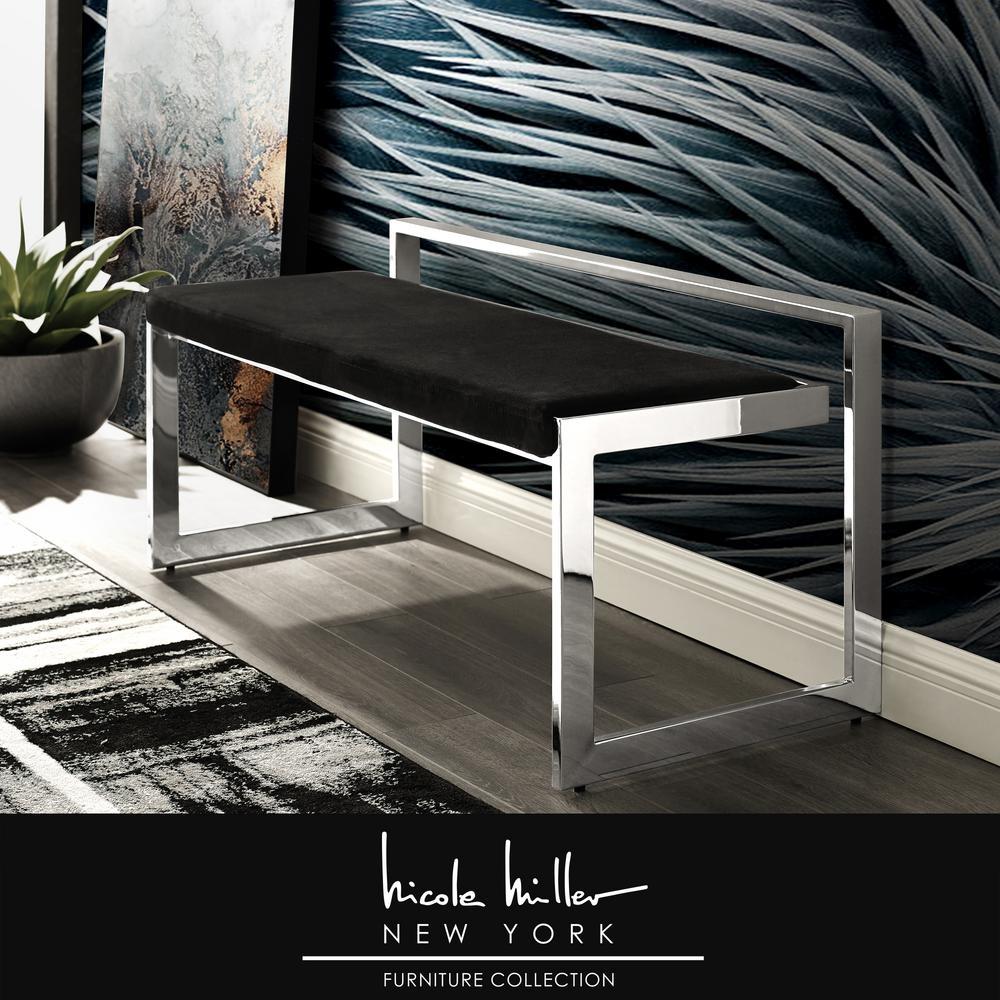 Ledger Black/Chrome Velvet Bench with Metal Frame