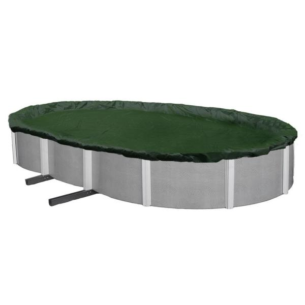 12-Year 18 ft. x 34 ft. Oval Forest Green Above Ground Winter Pool Cover