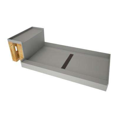 34 in. x 60 in. Single Threshold Shower Base in Gray and Bench Kit with Center Drain and Oil Rubbed Bronze Trench Grate