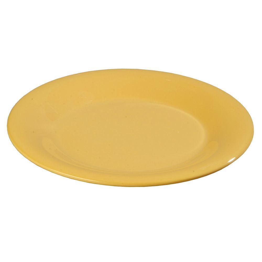 Carlisle 10.5 in. Diameter Melamine Wide Rim Dinner Plate in Honey