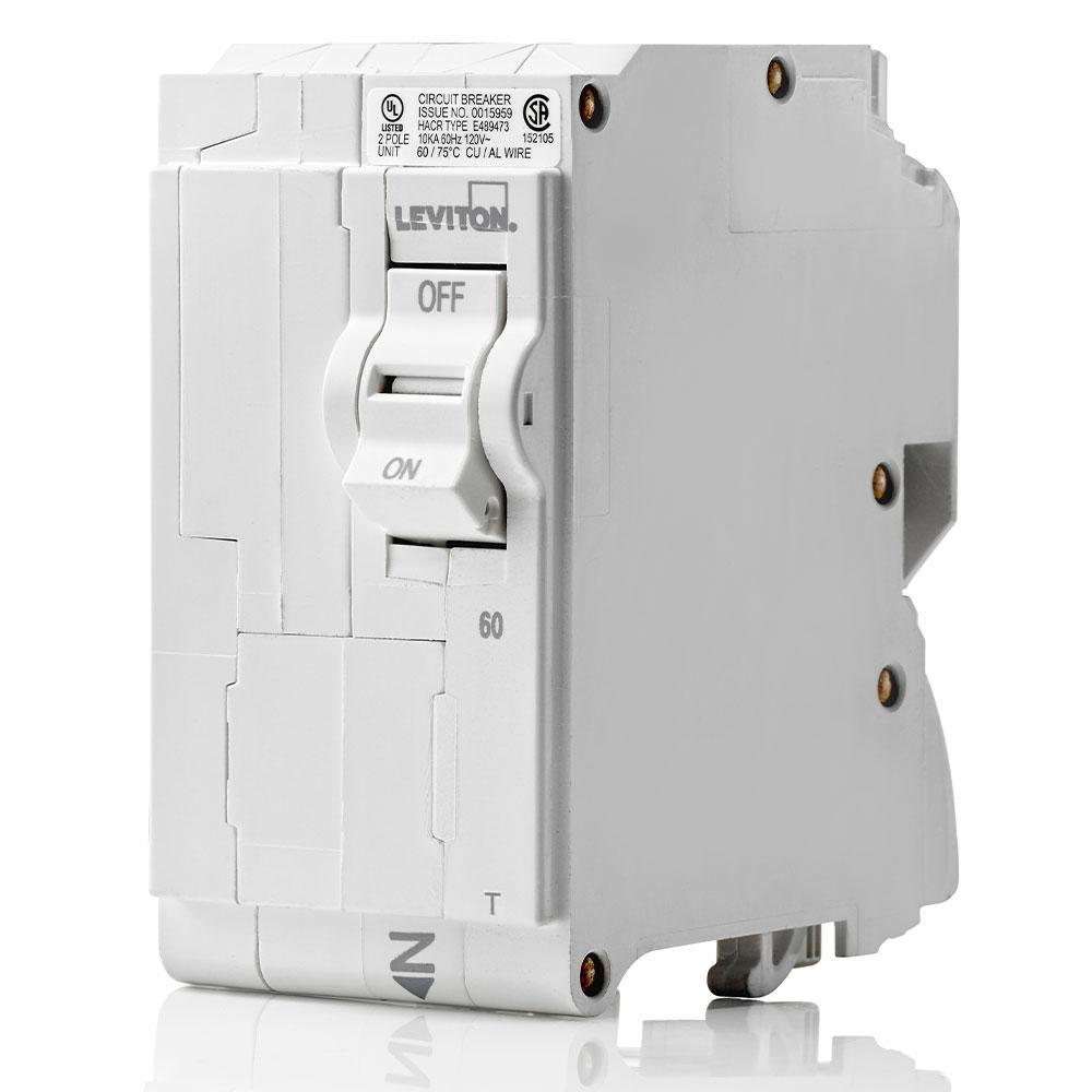 Branch Circuit Breaker, Standard 2-Pole 60 Amp, 120-Volt/240-Volt, Thermal Magnetic