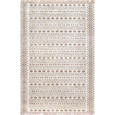 Angie Tribal Beige 9 ft. x 12 ft. Indoor/Outdoor Area Rug