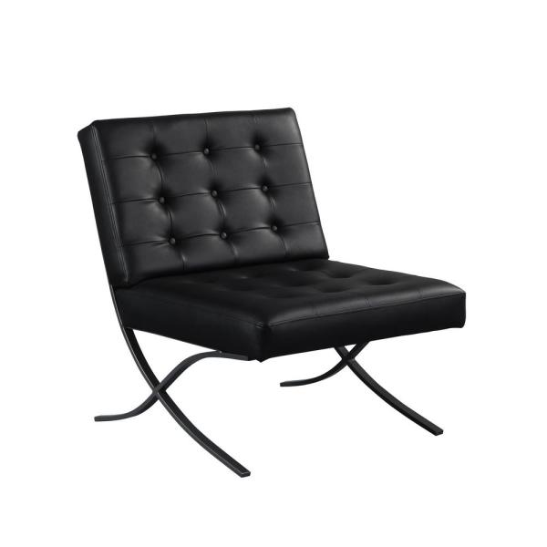 Relax A Lounger Perth Black Metal Powdered Coated And Bonded Leather Chair