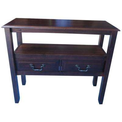 Ramsey Mahogany Brown Acacia Wood Console Table with Drawers and Shelf