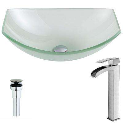 Pendant Series Deco-Glass Vessel Sink in Lustrous Frosted with Key Faucet in Brushed Nickel