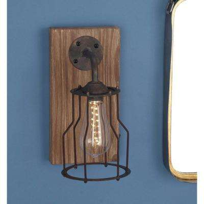 11 in. Brown Wood and Iron LED Wall Sconce