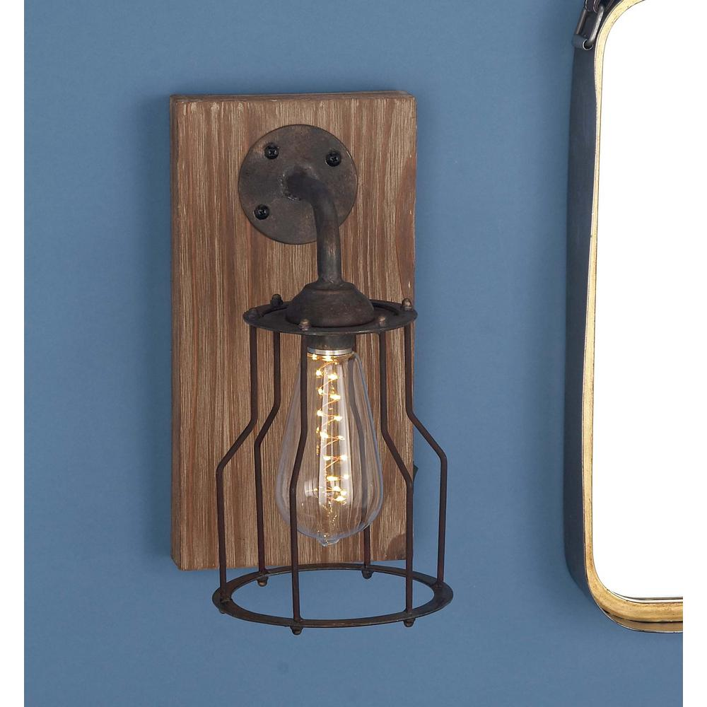 11 in. Brown Wood and Iron LED Wall Sconce-84330 - The ... on Wood And Metal Wall Sconces id=55598