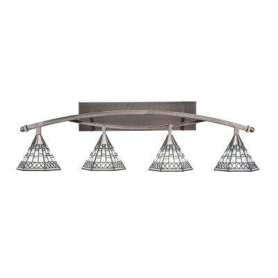 4-Light 39.5 in. Brushed Nickel Vanity Light with 7 in. Pewter Tiffany Glass