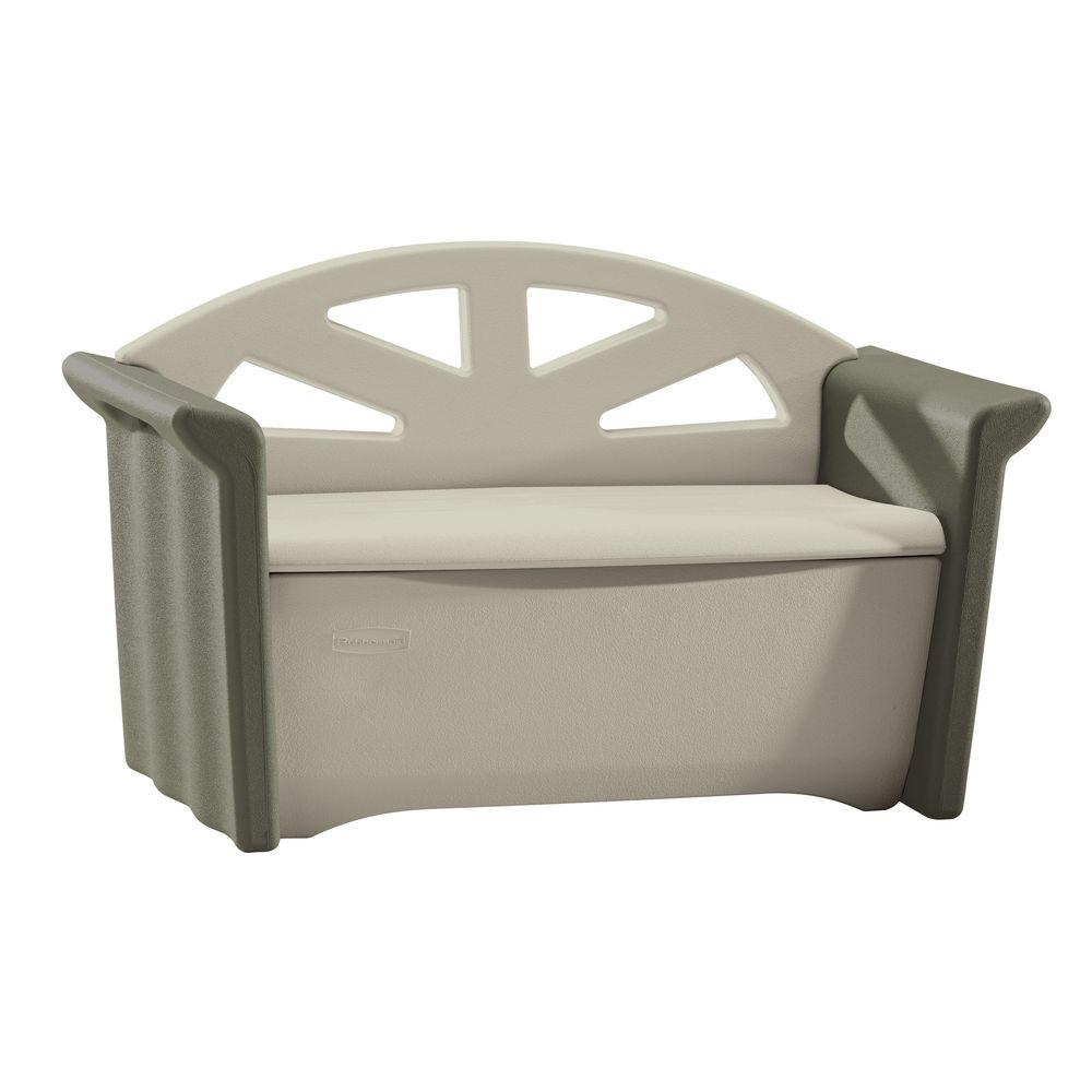 Resin Patio Storage Bench - Rubbermaid 32 Gal. Resin Patio Storage Bench-FG376401OLVSS - The