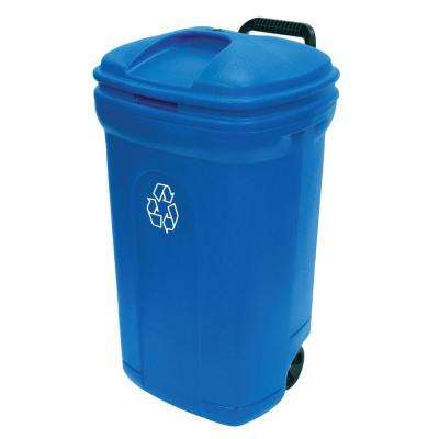 34 Gal. Wheeled Outdoor Trash Can in Recycling Blue
