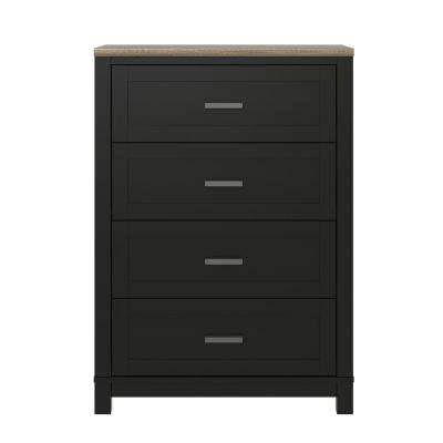 Viola 4-Drawer Black/Light Brown Dresser