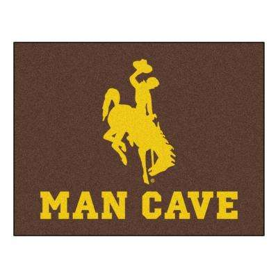NCAA University of Wyoming Brown Man Cave 3 ft. x 4 ft. Area Rug