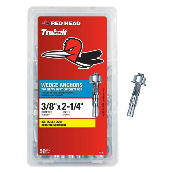 3/8 in. x 2-1/4 in. Head Wedge Anchor (50-Pack)
