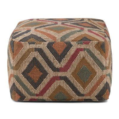 Johanna Transitional Square Pouf in Kilim Patterned Jute