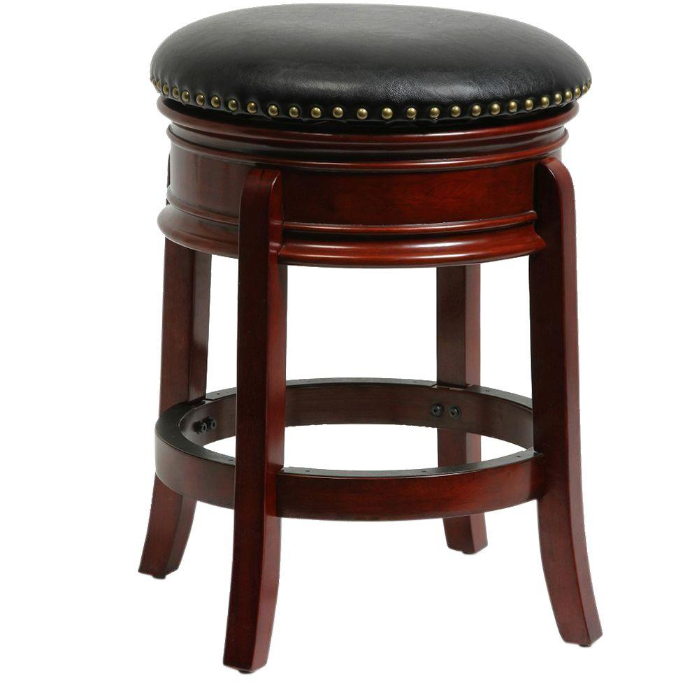 Kitchen Stools Home Depot: Boraam Hamilton 24 In. Cherry Swivel Cushioned Bar Stool