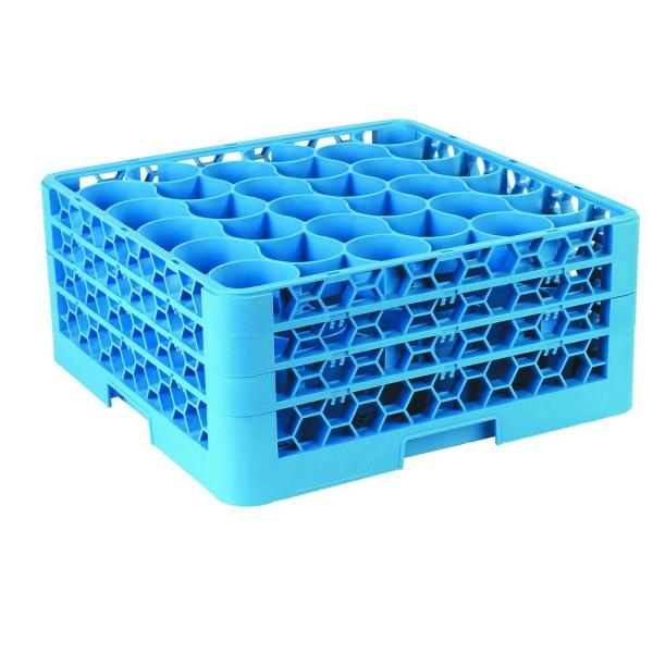 19.75 in. x 19.75 in., Polypropylene 30 Compartment, 3 Extender Glass Rack/Commercial Dishwasher in Blue (Case of 2)