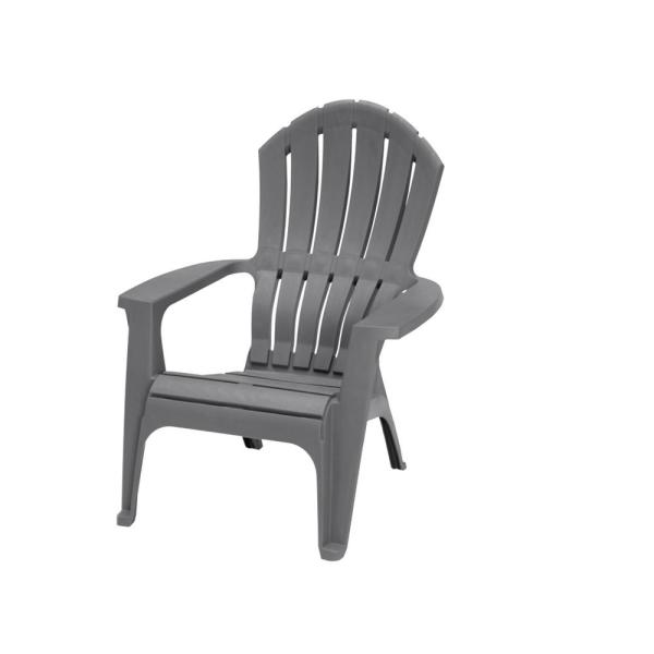 Realcomfort Charcoal Resin Plastic Adirondack Chair 8371 13 4300 The Home Depot